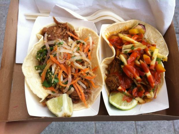 Pork taco and Curry lamb taco