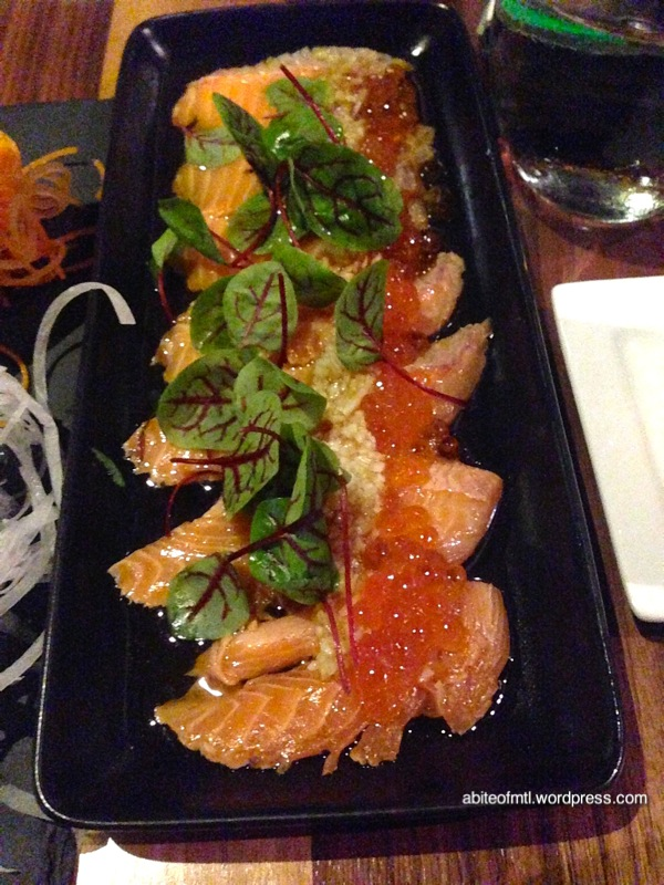 Kyo Bar Japonais - Sake Tataki Salmon served with ponzu sauce, ikura, green apple