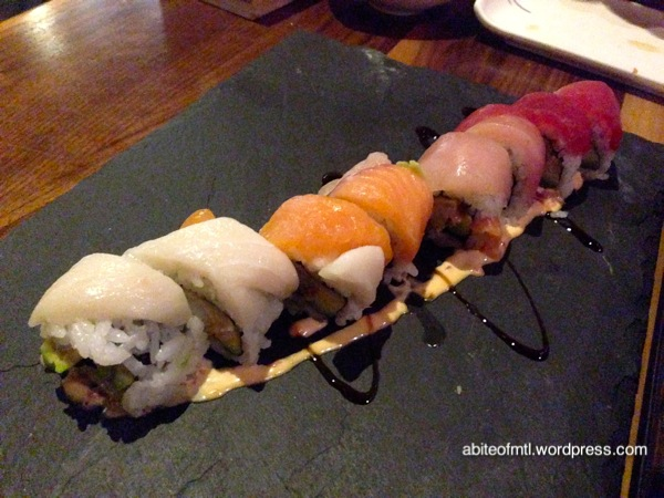Kyo Bar Japonais - Rainbow maki Shrimp tempura, tuna, salmon, albacore, striped bass, avocado