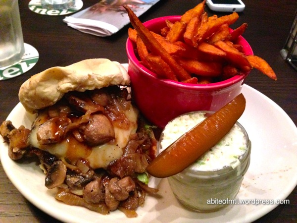 La Belle Et la Boeuf Burger bar - Mushroom burger 8oz ground Angus beef patty, swiss cheese, shallot-sauteed with Parisian mushrooms, caramelized onions and wine sauce. Coleslaw, cool-aid pickles and sweet potato fries