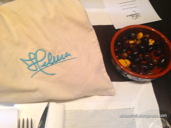 Helena - Bread in a bag and olives