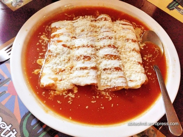 Le petit coin du Mexique - red Enchiladas Chicken filled tortilla with tomato red sauce, cream and cheese
