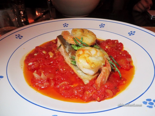 Venti Osteria - Trotta allacqua pazza Poached trout with a fish broth, tomatoes, garlic, shrimps