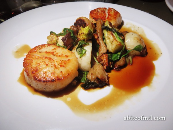 Communion - Seared Scallops, maple coffee gastric, wild mushrooms, romanesco, rabioles